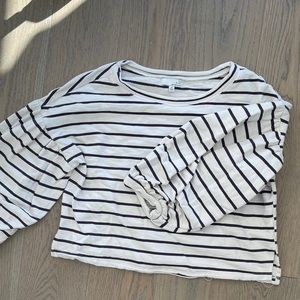White & Purple Striped Puffy Sleeved Blouse